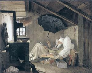 Дыр, бул, щыл. Карл Шпицвег. Бедный поэт. 1839. Новая картинная галерея, Мюнхен